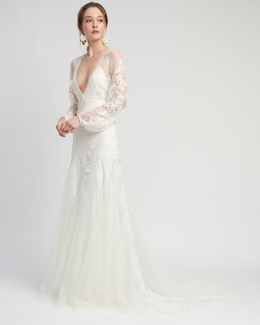 lace long puffed sleeves plunging v-neck trumpet wedding dress Lover of Mine by Alexandra Grecco Spring 2020