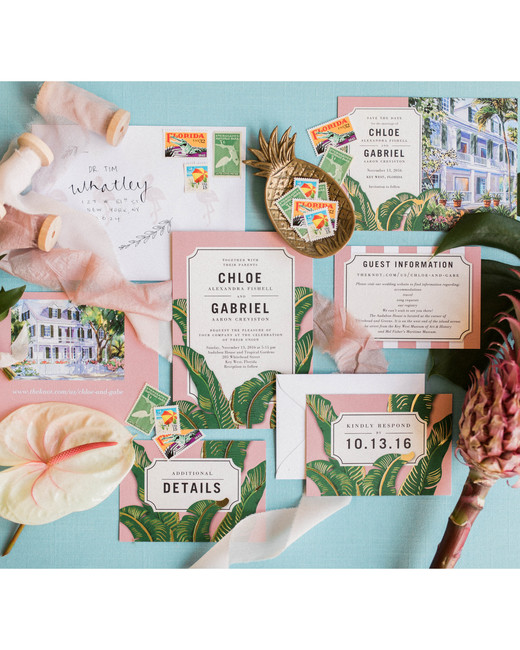 beach wedding invitations pink and green cards