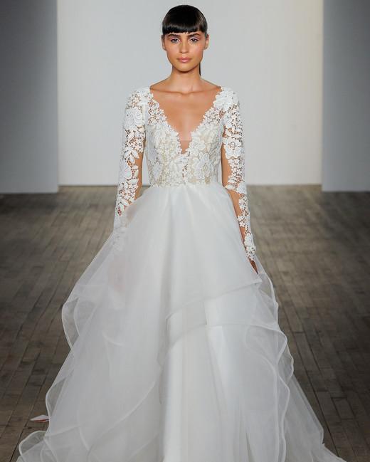 blush by hayley paige fall 2019 v-neck long sleeve wedding dress