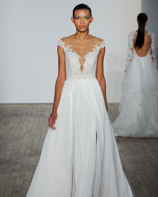 blush by hayley paige fall 2019 v-neck illusion high neckline wedding dress