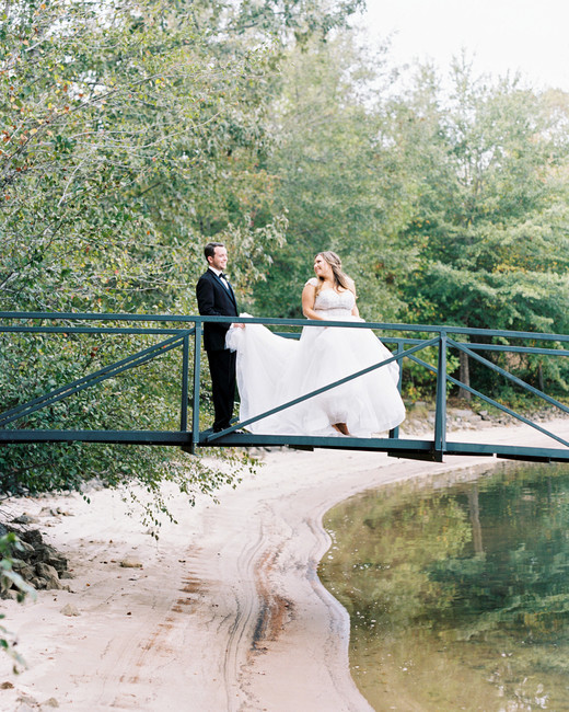 brittany alex wedding couple on bridge