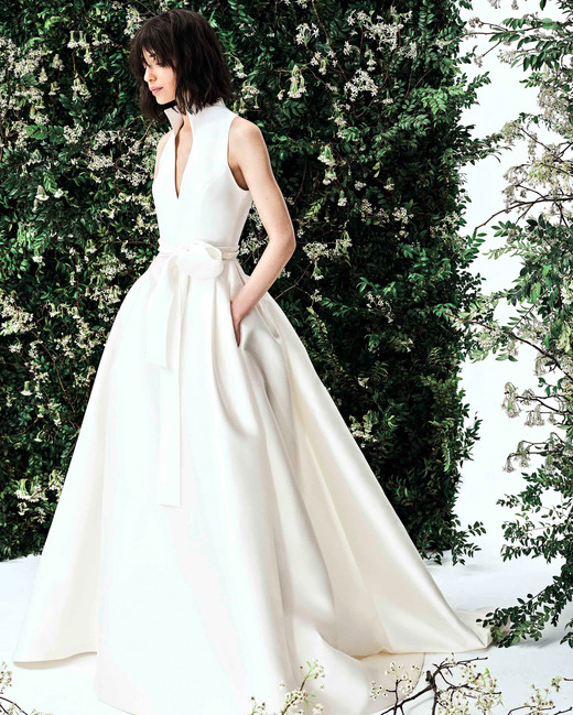 741165366a carolina herrera deep v satin ballgown wedding dress spring 2020
