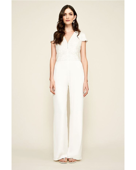 white Lace and Crepe Jumpsuit