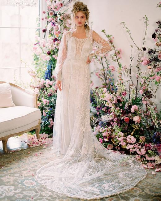 long sleeve lace long train scalloped neckline a-line wedding dress Claire Pettibone Spring 2020
