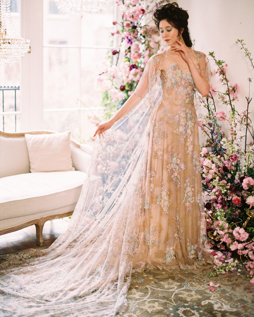 multi-color floral applique lace cape a-line wedding dress Claire Pettibone Spring 2020