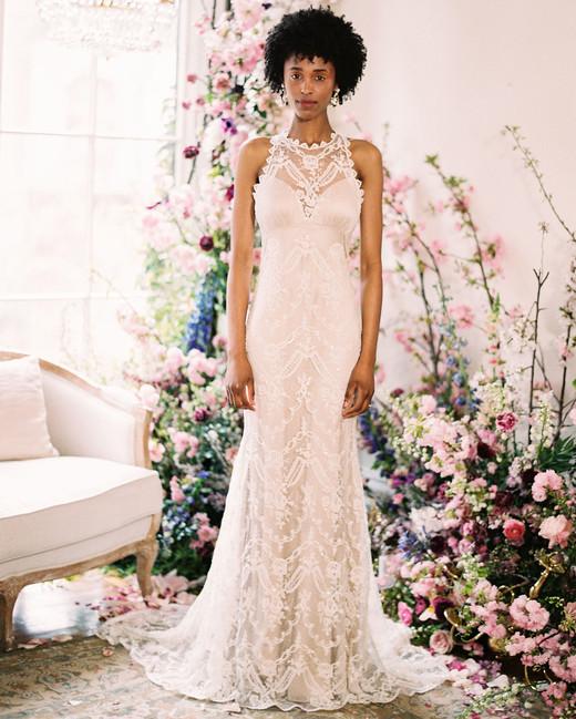 lace high-neck sleeveless semi-trumpet wedding dress Claire Pettibone Spring 2020