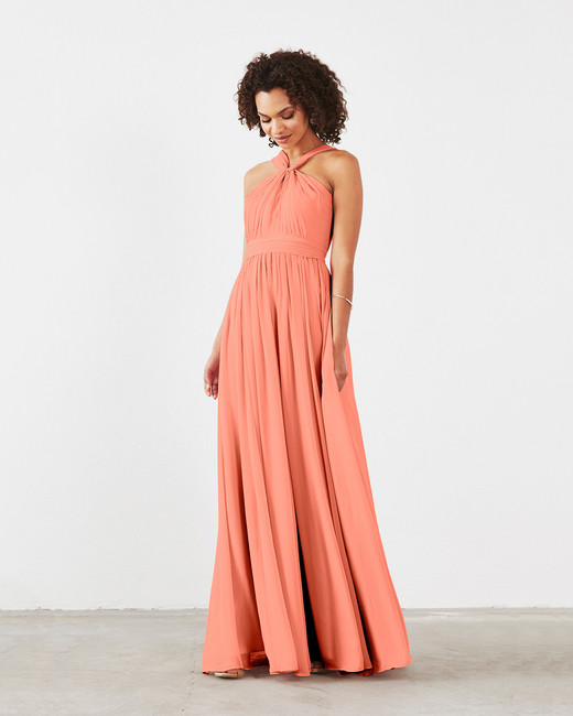 coral bridesmaid dress dova dahlia cora