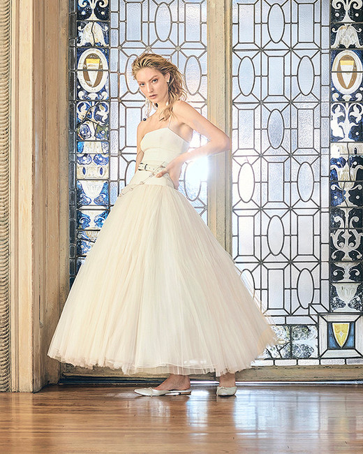 danielle frankel wedding dress spring 2019 ankle-length belted ball gown