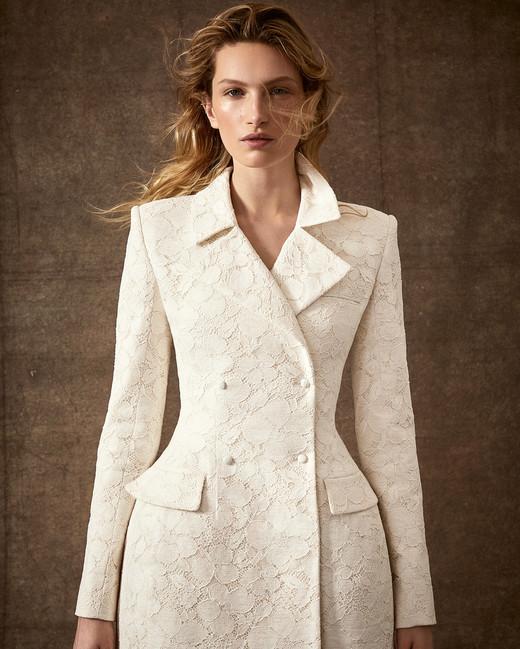 short long sleeve lace applique suit wedding dress Danielle Frankel Spring 2020