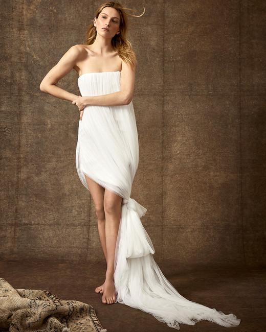 straight across strapless high-low tulle wedding dress Danielle Frankel Spring 2020