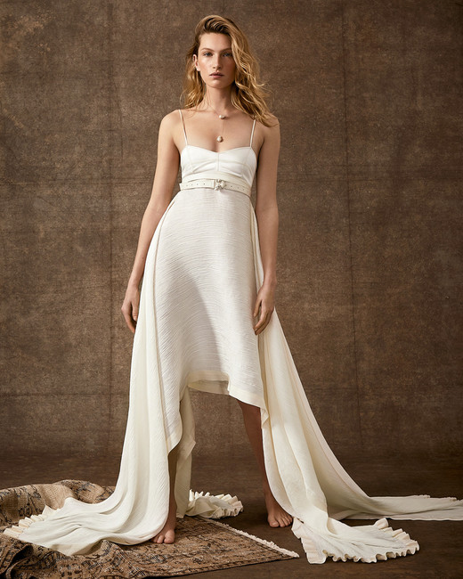 high-low spaghetti strap semi-sweetheart belted wedding dress Danielle Frankel Spring 2020