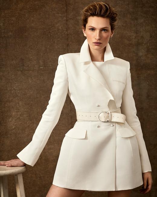 short belted trench coat wedding dress Danielle Frankel Spring 2020
