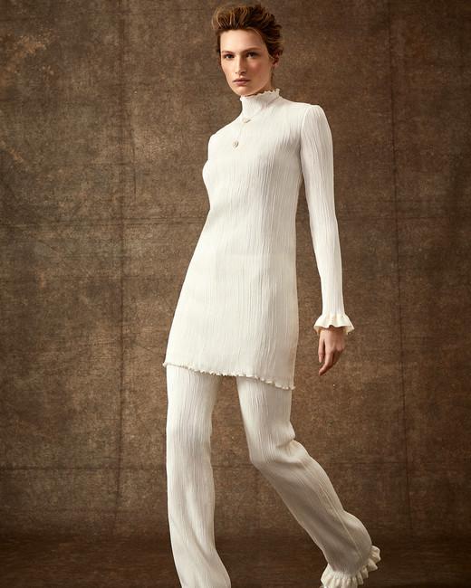 high neck ribbed long sleeve scalloped edge wedding pantsuit Danielle Frankel Spring 2020