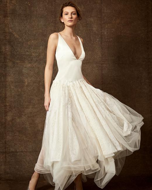 drop waist deep v-neck lace tulle skirt wedding dress Danielle Frankel Spring 2020