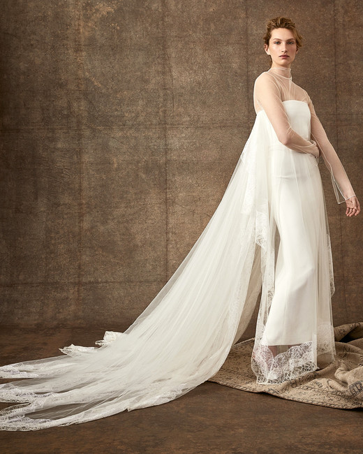 illusion high-neck sheer long sleeve tulle lace wedding dress Danielle Frankel Spring 2020