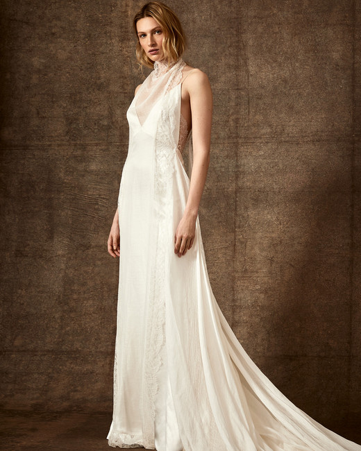 illusion halter high-neck spaghetti strap lace wedding dress Danielle Frankel Spring 2020