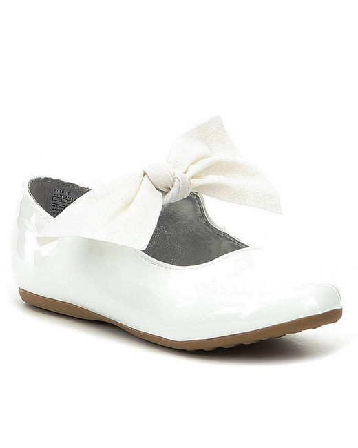 flower girls shoes rose tie bow detail flats