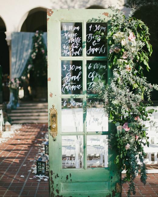 green wedding ideas onelove photography ceremony program door
