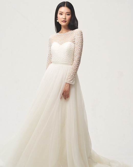jenny by jenny yoo fall 2018 sweetheart long-sleeve wedding dress