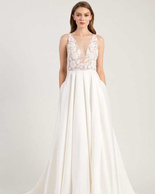 jenny by jenny yoo wedding dress deep v-neck sleeveless embellished bodice a-line