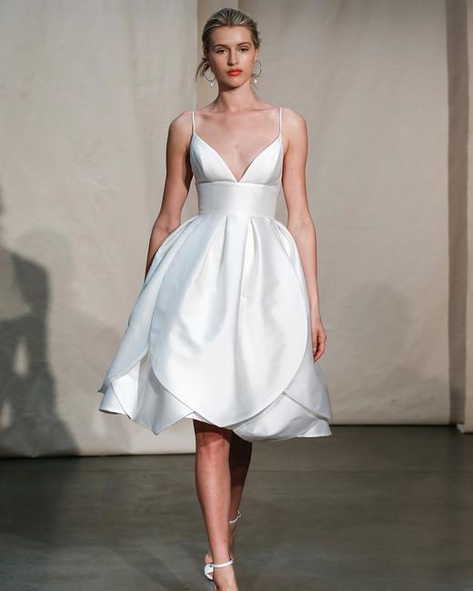 justin alexander short layered spaghetti strap wedding dress spring 2020