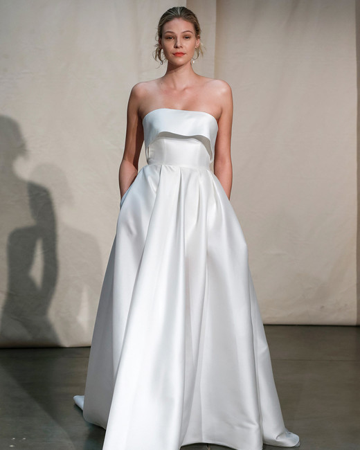 justin alexander strapless flounce wedding dress spring 2020
