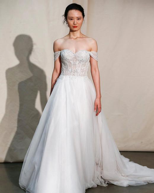 justin alexander off-the-shoulder exposed boning wedding dress spring 2020