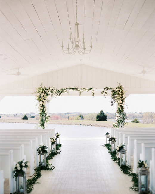 wedding aisle ceremony looking over lake