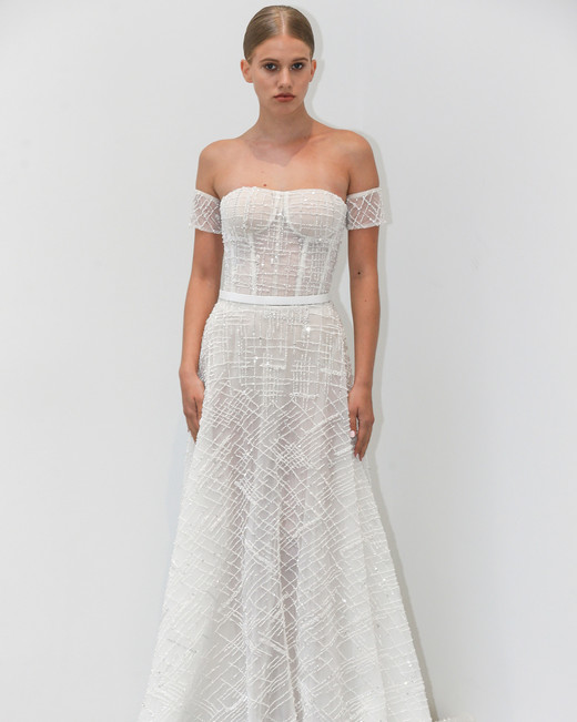 lee petra grebenau fall 2019 glittery off the shoulder a-line gown