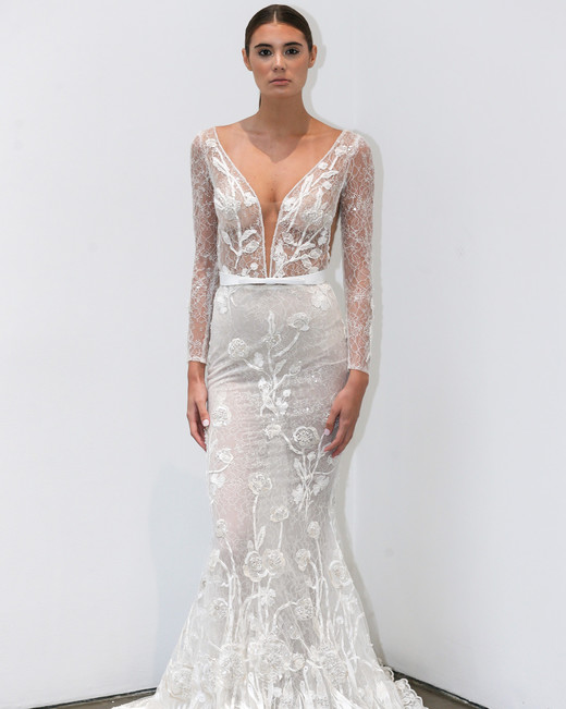 lee petra grebenau fall 2019 sheer and lace belted long sleeve mermaid
