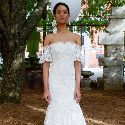 lela rose wedding dress bridal market fall 2018 drop shoulder lace