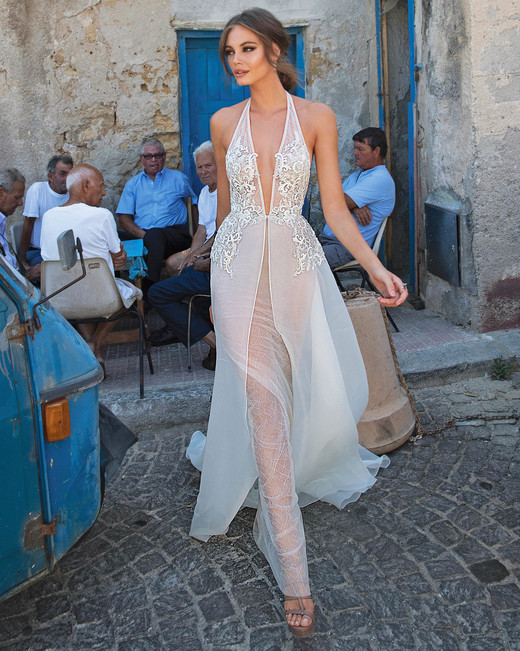 Muse by Berta Sheer V-Neck Wedding Dress Fall 2018