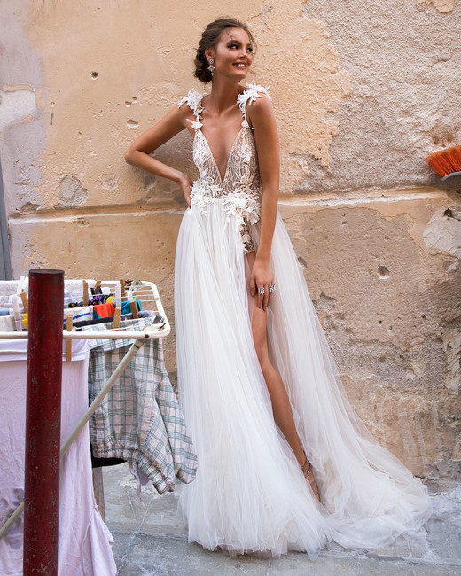 Muse by Berta V-Neck Embellished Straps Wedding Dress Fall 2018