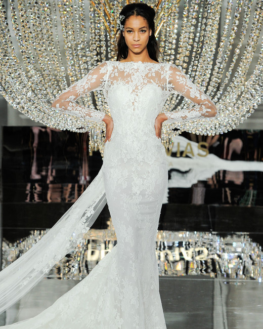 pronovias wedding dress fall 2018 long sleeves lace illusion trumpet