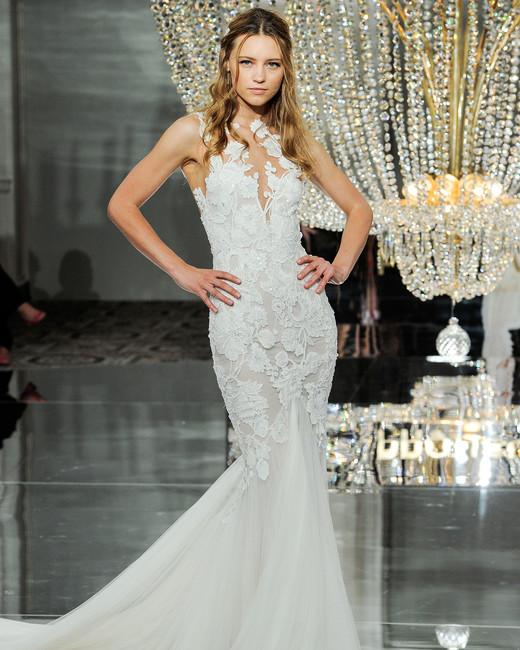 pronovias wedding dress fall 2018 trumpet embellished sleeveless