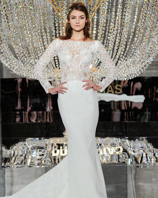 pronovias wedding dress fall 2018 long sleeves trumpet lace