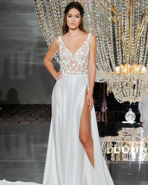 pronovias wedding dress fall 2018 v-neck sleeveless a-line slit