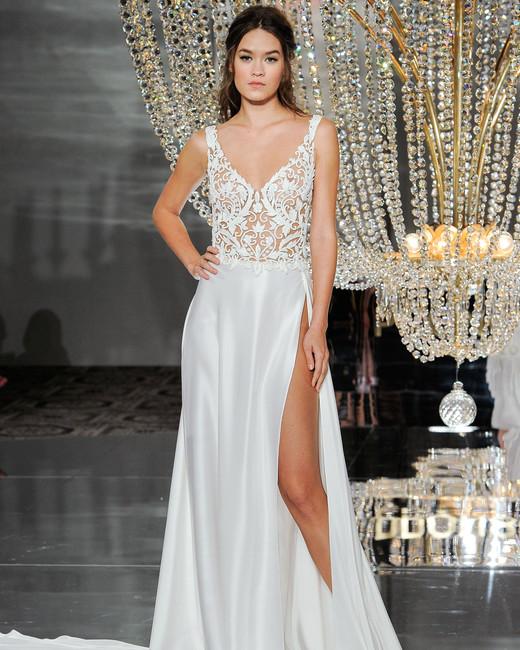 pronovias wedding dress fall 2018 v-neck sleeveless a-line slit