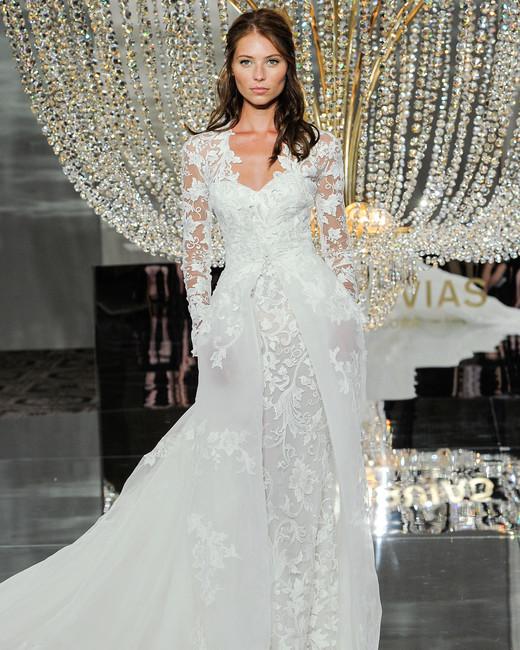 pronovias wedding dress fall 2018 long sleeves lace layers