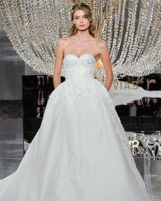 pronovias wedding dress fall 2018 sweetheart ball gown lace pockets