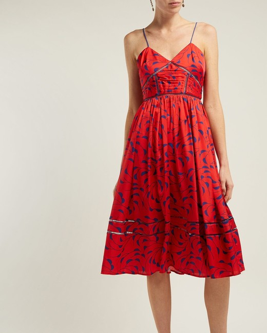 red Azalea Print Satin Dress
