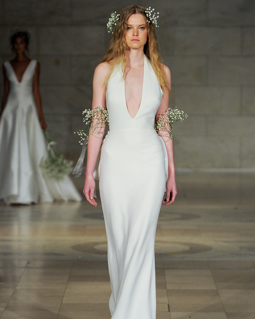 reem acra fall 2018 plunging neckline sheath