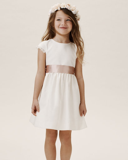 white cap sleeve midi dress with rose gold belted waist