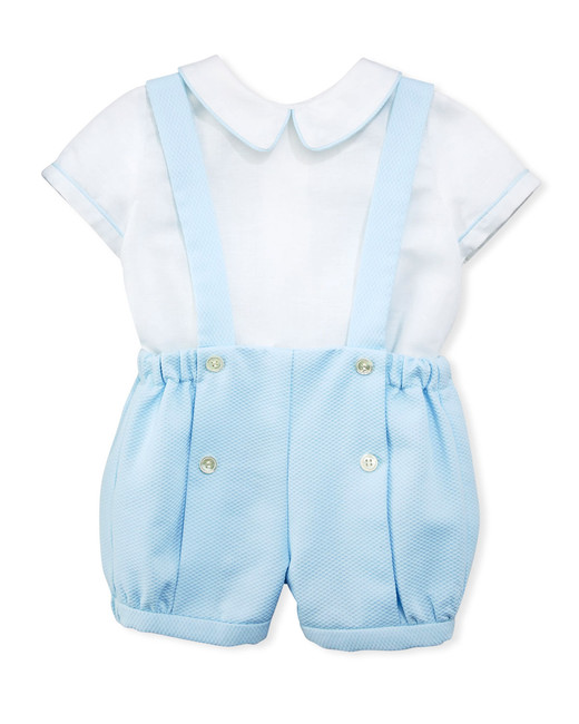Luli & Me Contrast-Piping Shirt with Suspender Shorts