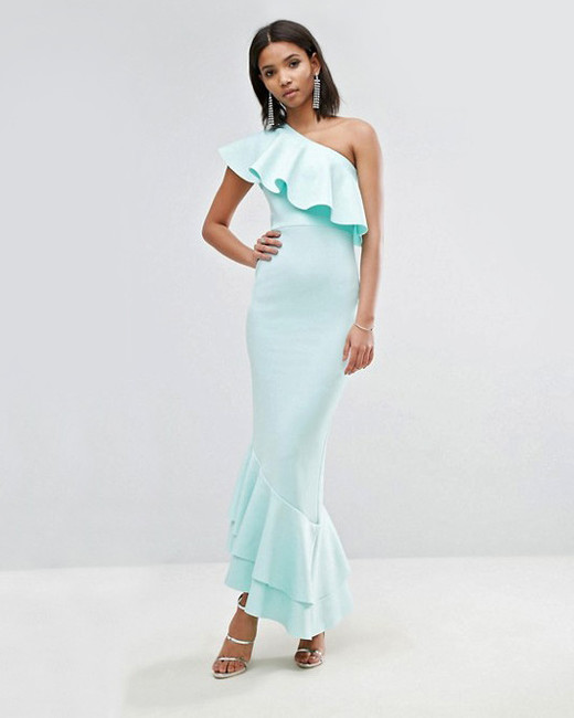 one-shoulder ruffle asymmetric maxi dress