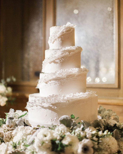 Ruffled Winter Wedding Cake