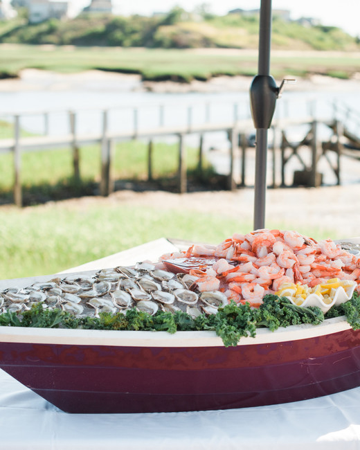 boat shaped seafood filled serving bar