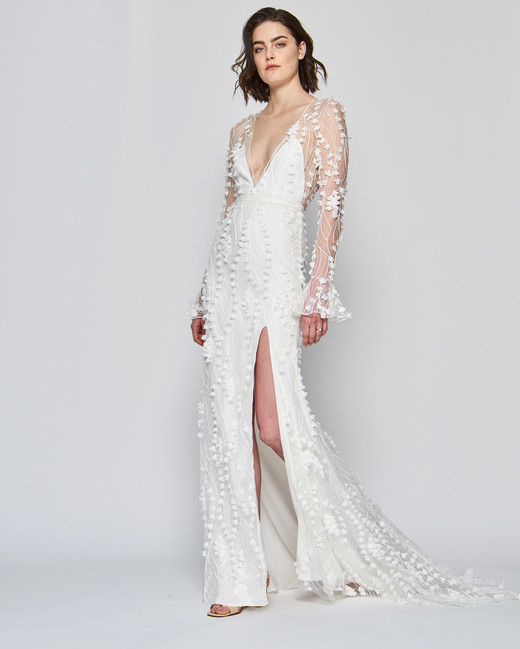 alexandra grecco wedding dress spring 2019 long sleeve v-neck sheath