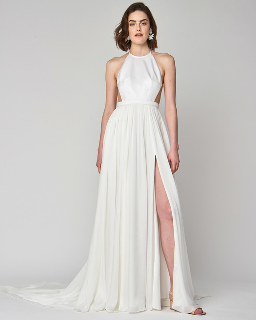 halter alexandra grecco a-line wedding dress spring 2019