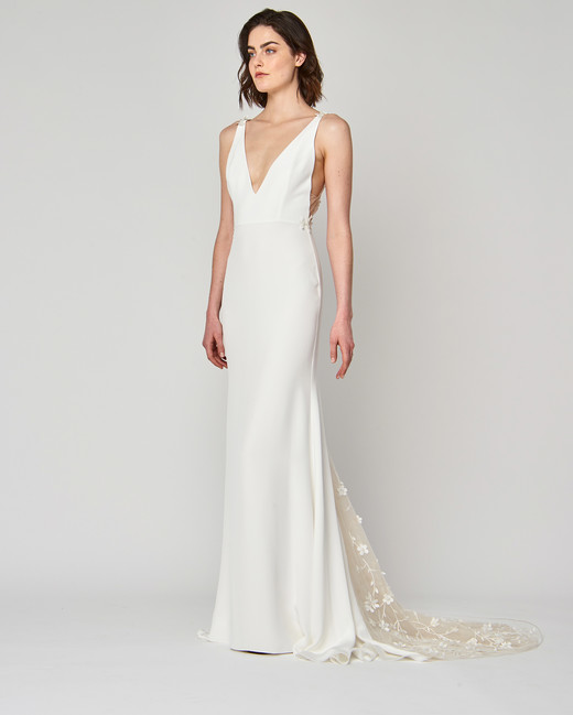 v-neck alexandra grecco sheath wedding dress spring 2019